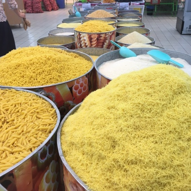 Pasta, rice and other grains on sale in the supermarket