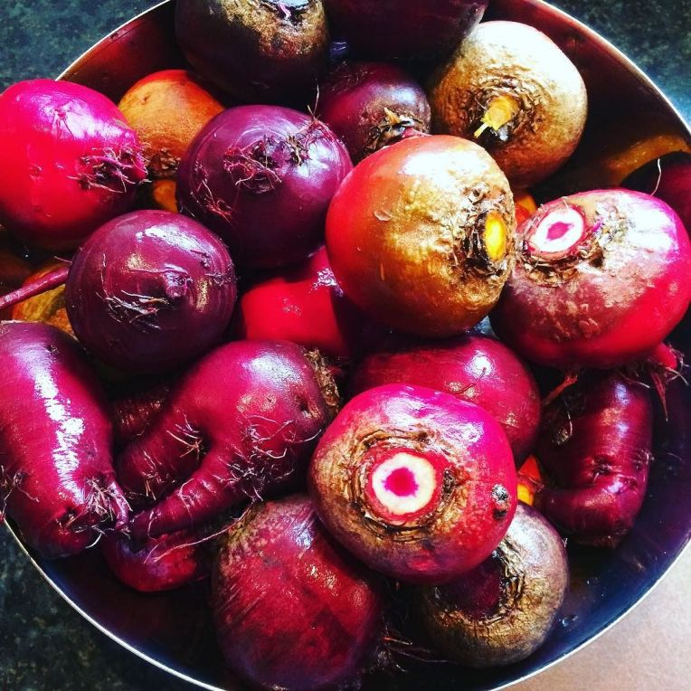 Beautiful beets from the garden for Saturday's @belfastdesignwk pop up dinner with @graceandsaviour styling and @mark_reihill speaking. These are being served roasted with homegrown shal